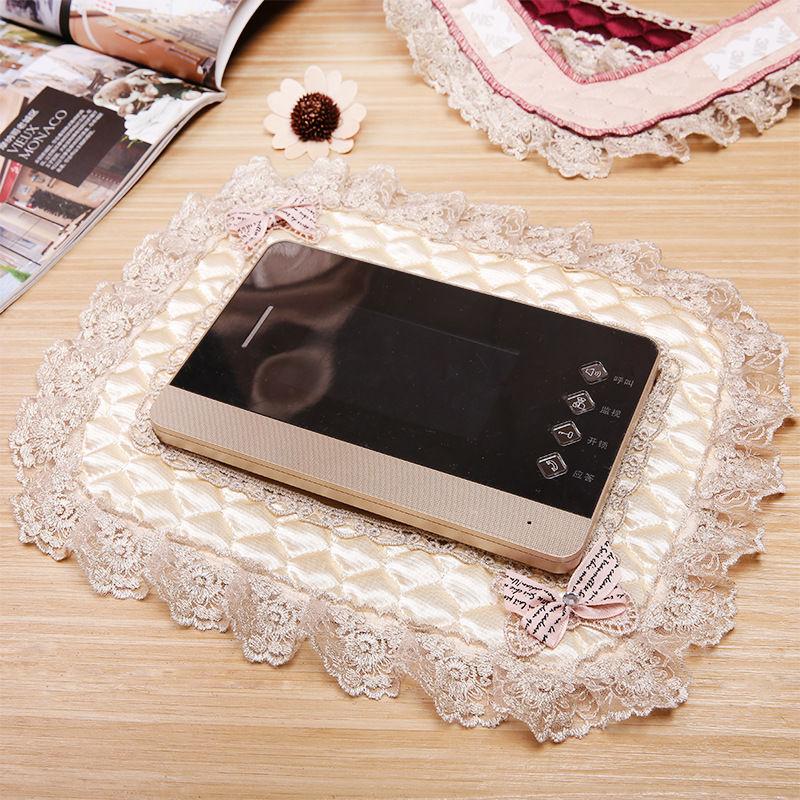 欧式布艺门铃可视电话防尘罩子蕾丝刺绣墙贴门禁对讲机电话保护套
