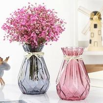 欧式创意玻璃花瓶水培绿萝植物干鲜花插花瓶器皿餐厅客厅装饰摆件