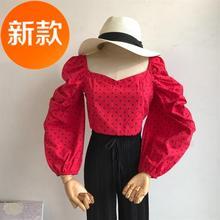 女抹胸长袖 春季上衣女短款 法式复古修身 方领松紧褶皱泡C泡衬衫图片
