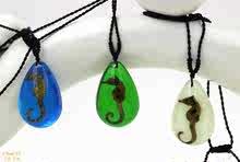 新款人工夜光琥珀吊坠真海洋生物标本项链创意礼品装饰品礼物包邮