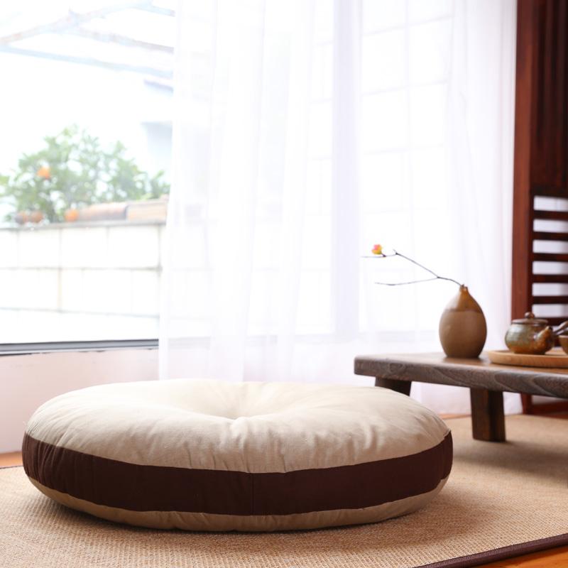 日本购日式大号棉麻蒲团 加榻榻米搭配 直径65打坐瑜伽垫 飘窗地