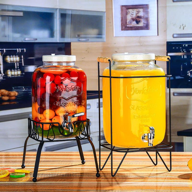 无铅玻璃果汁罐带龙头泡酒酵素瓶酵素桶蜂蜜柠檬百香果密封罐家用