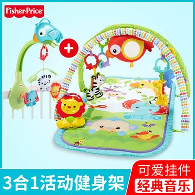 费雪健身架热带雨林新生礼盒套装婴儿健身器游戏垫音乐床铃FBH65