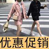 kumayes early autumn Korean version of the new two-piece skirt suits girlfriends fitted denim skirt bust loose coat