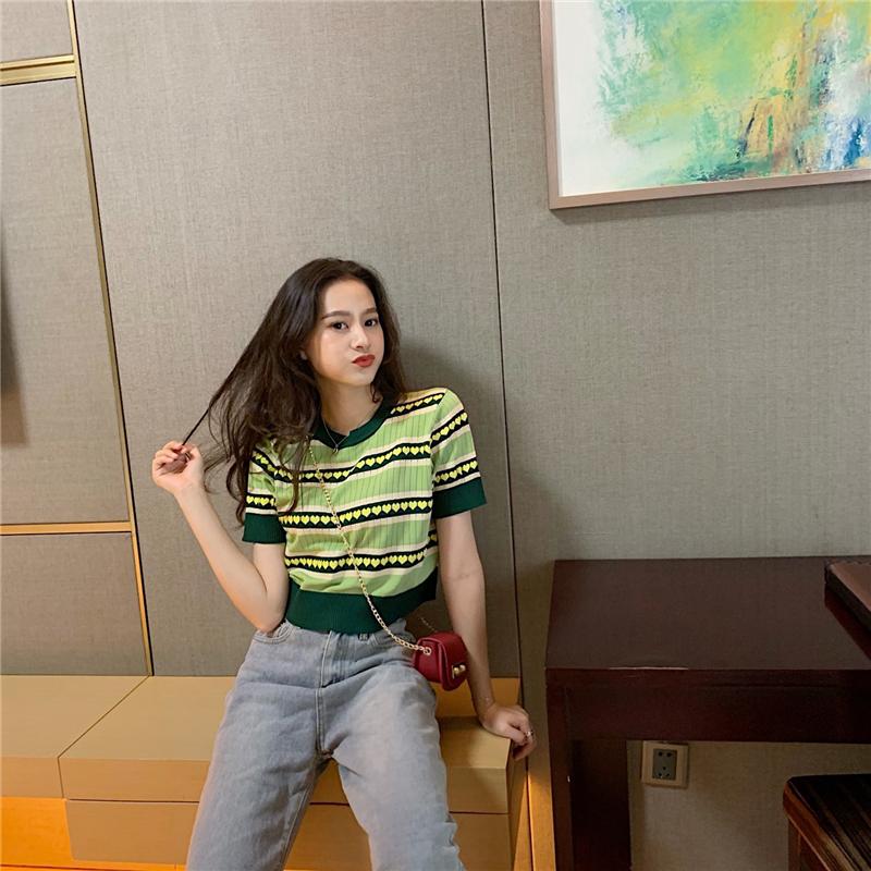 冰丝短袖t恤女 夏季圆领高腰短款修身针织木耳边薄款紧身打底上衣