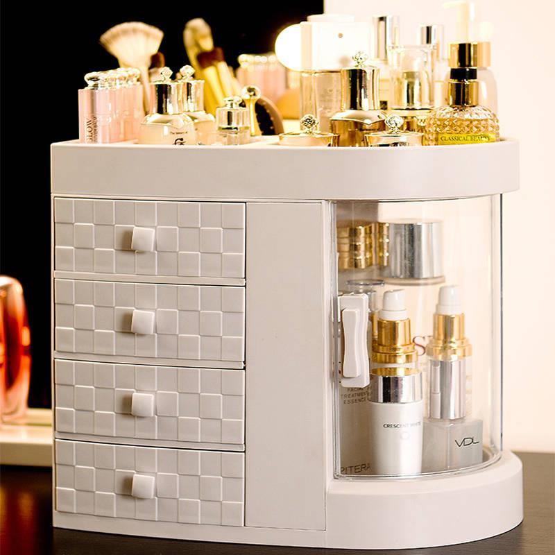 日式化妆品收纳盒简约桌面防尘家用透明卫生间抽屉式护肤品置物架