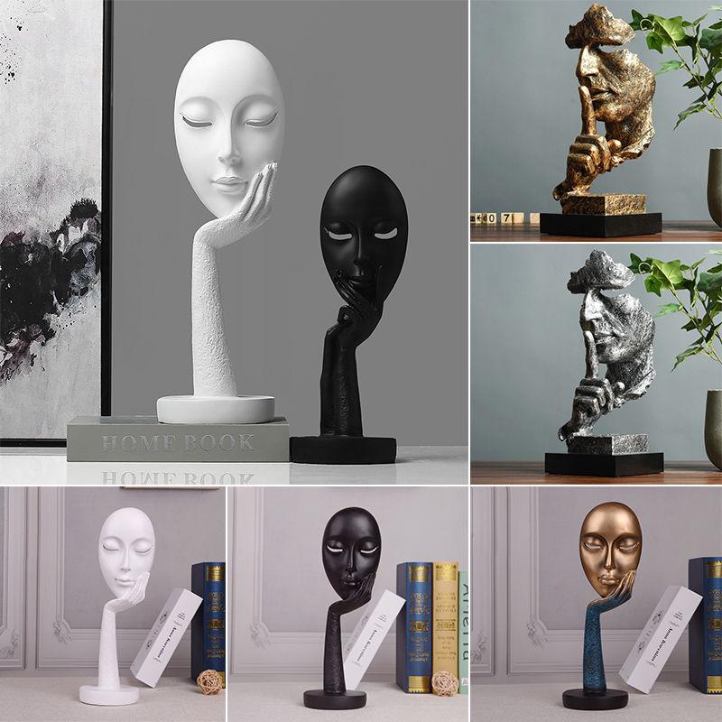 北欧创意抽象黑白艺术人脸面具摆件客厅酒柜装饰品人物雕塑工艺品