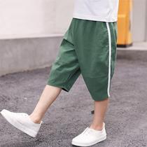 韩版五分裤男童人造棉裤子大儿童七分裤休闲宝宝短裤薄款工装裤