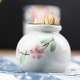 Micro-defective Japanese ceramic toothpick jar personality hand-painted toothpick barrel home to collect toothpick box hotel restaurant toothpick bottle