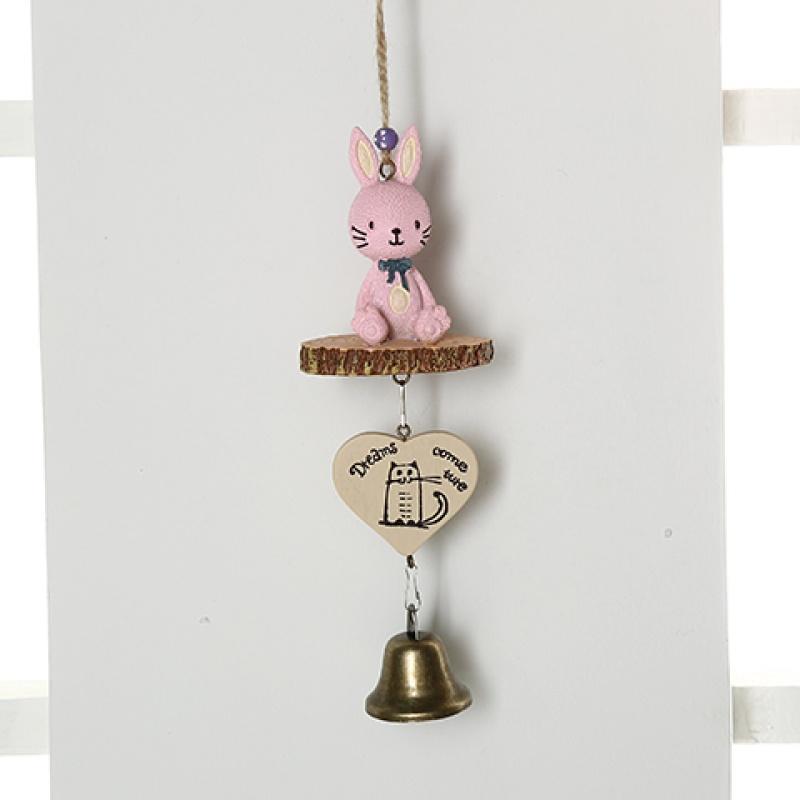 家居装饰用品树脂粉色兔子风铃陶瓷玻璃门挂饰 龙猫铃铛 松鼠挂件