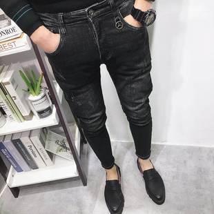 潮男冬春新韓版修身工裝九分黑微跨貓須小腳牛仔褲社會人火熱暢銷