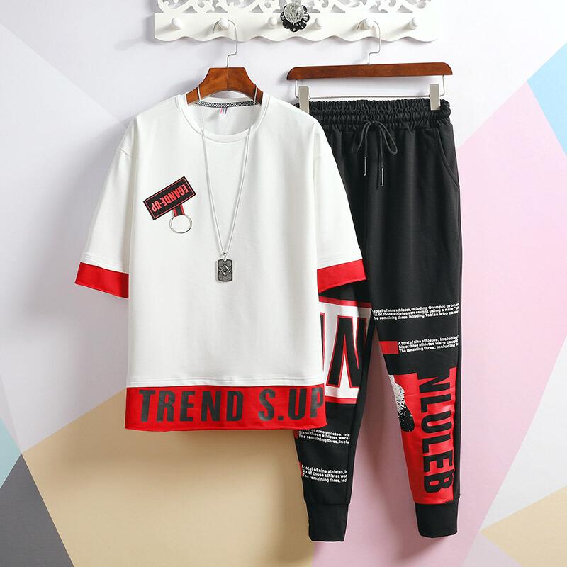 梦迪蔻2019夏新款宽松T恤韩版潮流一套衣服休闲男装帅气套装