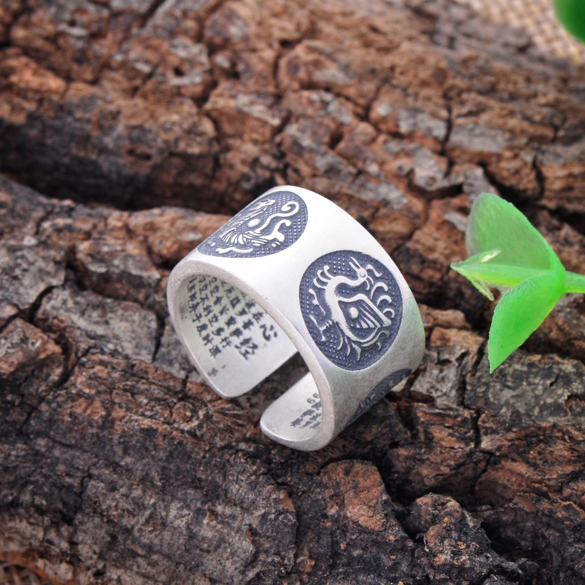 银饰 足银990泰银佛教心经开口戒指 时尚复古泰银戒指