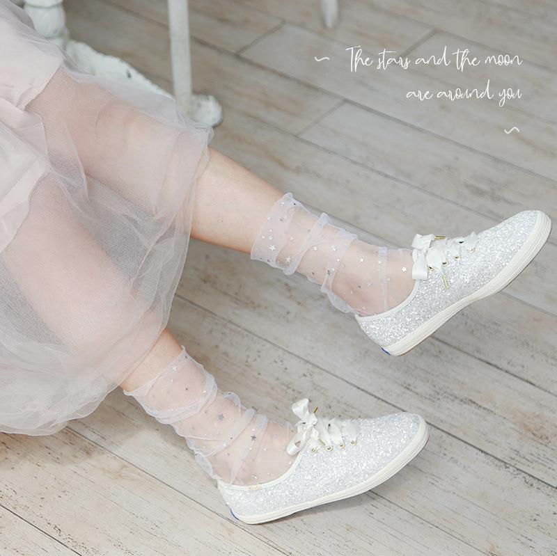 堆堆袜春秋沙袜女公主网纱仙女袜肤色玻璃装饰黑色女款新款春款