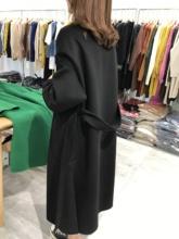 加厚中长款 丝绒绿双面羊绒大衣女2019秋冬新款 宽松高端双面呢外套