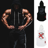 Muscular fitness Brothers Sporting dog vest vest male summer jogging hooded training suit jacket sleeveless stretch breathable