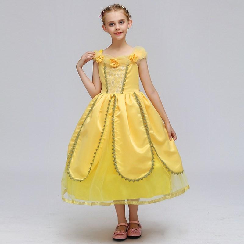 幼兒童貝爾公主裙黃色女童女孩小孩拇指姑娘豌豆公主裙表演出服裝