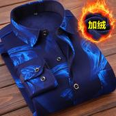 秋冬季格子衬衣男衣服 修身 加绒加厚长袖 寸衫 男士 2019新款 保暖衬衫图片