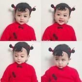 朱莉家 男女宝宝哪吒发带0-6岁婴幼儿长辫子发饰满月周岁百天拍照