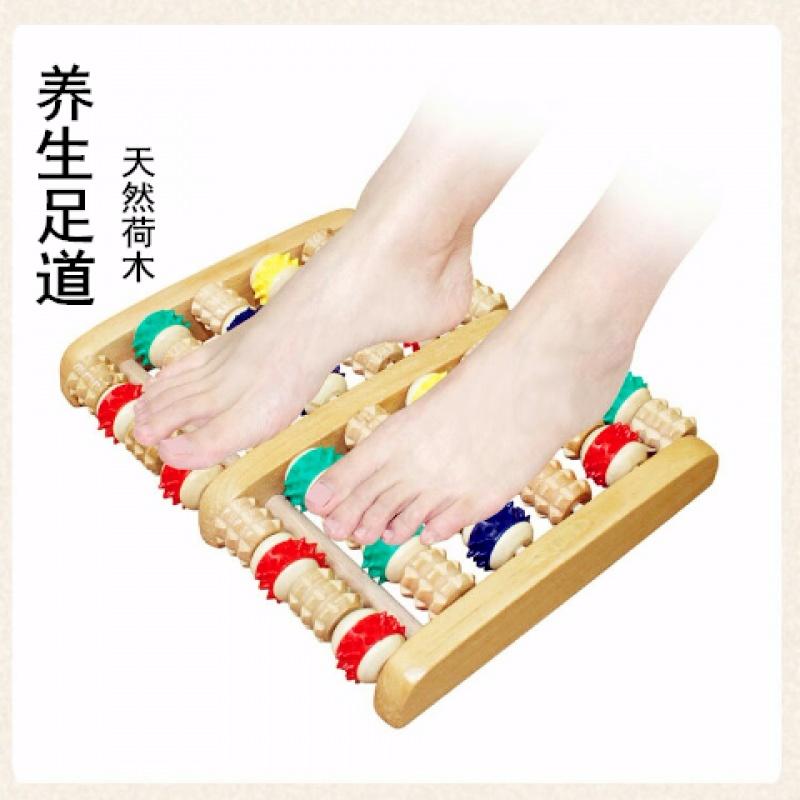 彩六排脚底按摩器木制滚轮足底手掌穴位按摩足部足疗木质按摩脚器