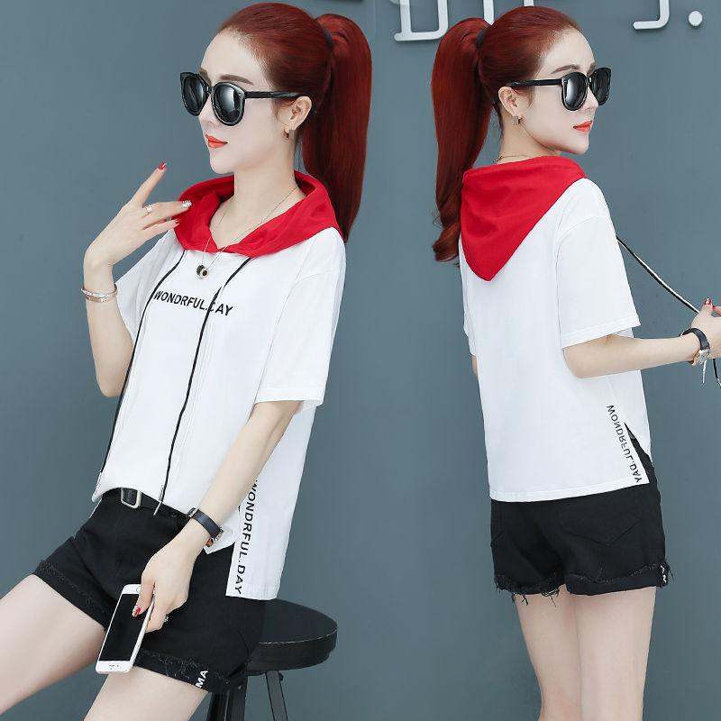 95棉短袖T恤女夏季新款连帽休闲上衣字母印花韩版宽松薄款卫衣潮