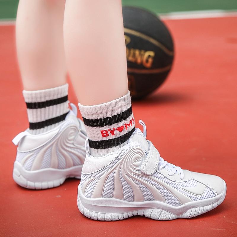 童鞋儿童篮球鞋男童白色表演秋季高帮运动鞋5-12岁小孩防滑防臭鞋