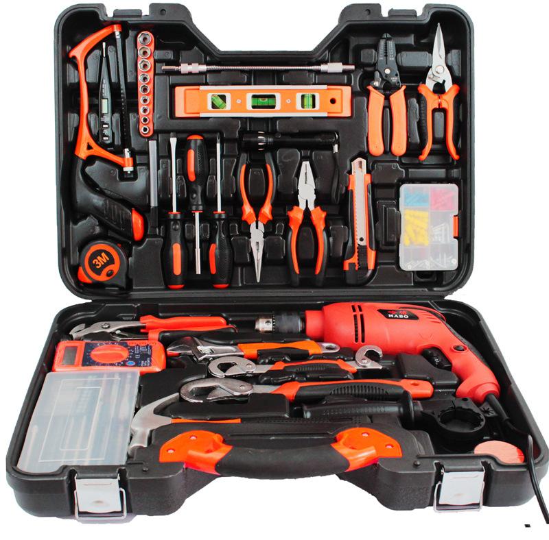 五金工具组合组套 木工电工手动工具箱冲击电钻电动工具 礼品套装