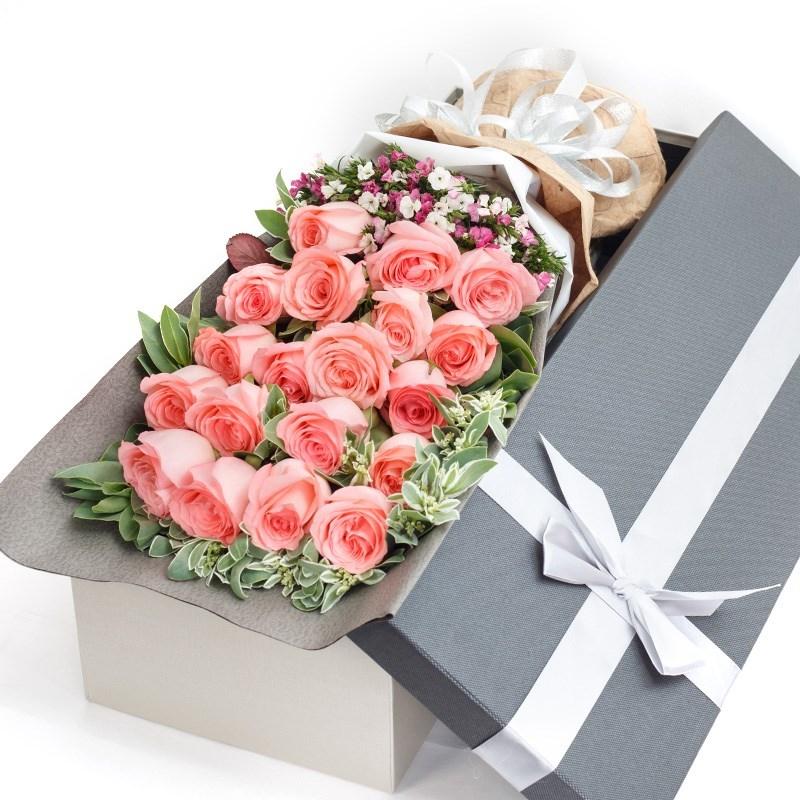 适配鲜花同城速递混搭花束红玫瑰礼盒装广州上海深圳生日礼物送女