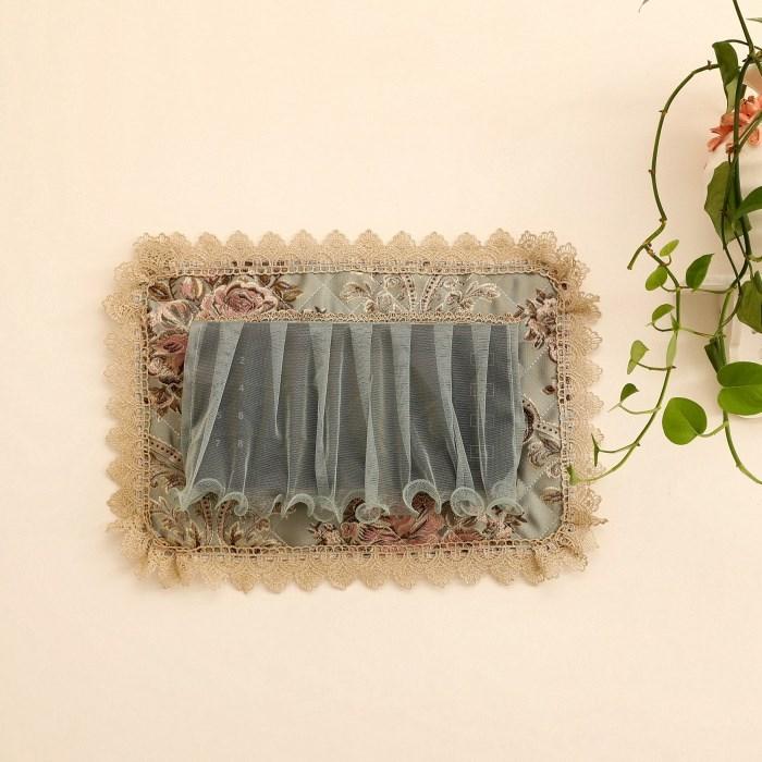 门铃套防尘罩 装饰墙贴布艺保护套 欧式刺绣蕾丝对讲机可视电话罩