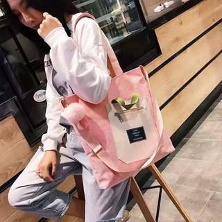 帆布单肩包女学生韩版斜挎原宿包ins新款大容量可爱文艺百搭布袋