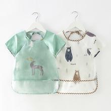 宝宝吃饭罩衣防水防脏秋冬儿童围裙长袖纯棉画画婴儿围兜反穿护衣