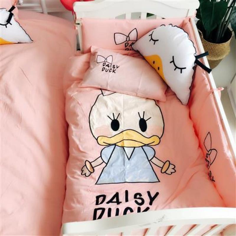 棉婴儿床套件女孩公主婴童全棉床上用品床单被套多件套男童宝宝纯
