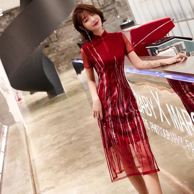 新娘敬酒服改良旗袍2019新款夏款新式红色年轻短款结婚连衣裙少女
