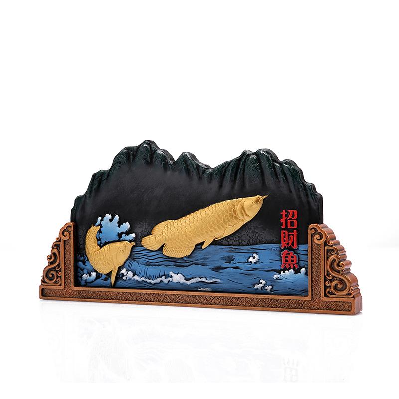 山形炭雕商务礼品活性碳雕家居饰品工艺品山形招财鱼工艺高档礼品