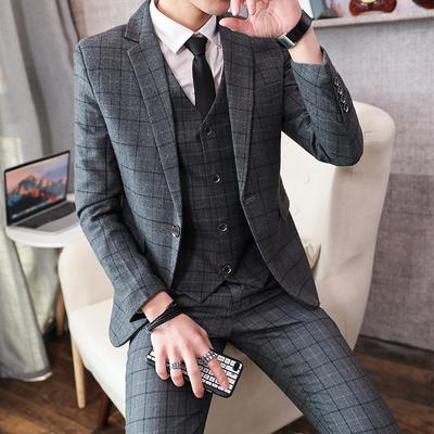 春秋新款潮流格子西装三件套装男英伦绅士发型师新郎结婚礼服正装