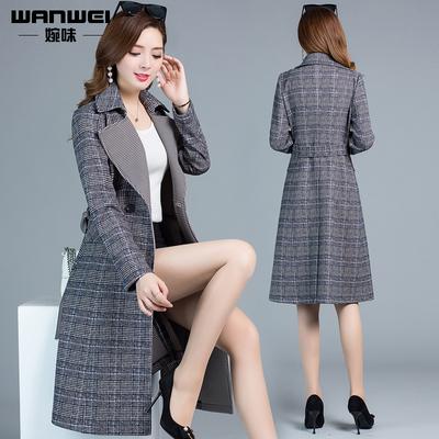 风衣女中长款韩版春季2018新款修身显瘦过膝薄款春秋格子大衣外套
