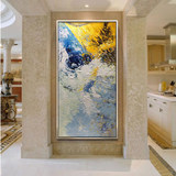 Pure hand-painted abstract Zhao Wuji oil painting modern minimalist Nordic porch vertical aisle corridor custom decorative painting