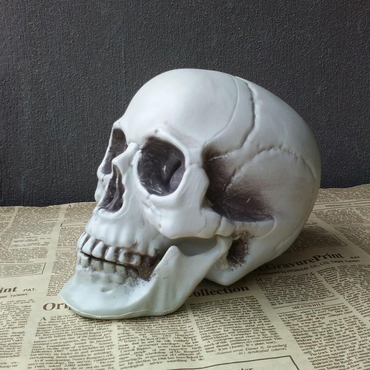骷髅头 万圣节鬼屋装饰用品恐怖摆件 仿真人头骨模型酒吧布景骨头