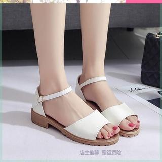 2019年新款百搭大码中瘦女鞋子脚宽大肥胖厚跟夏季胖mm学生凉鞋显