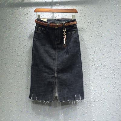 欧洲站18欧货新款正品百搭中长款显瘦弹力深色牛仔包臀裙半身裙女