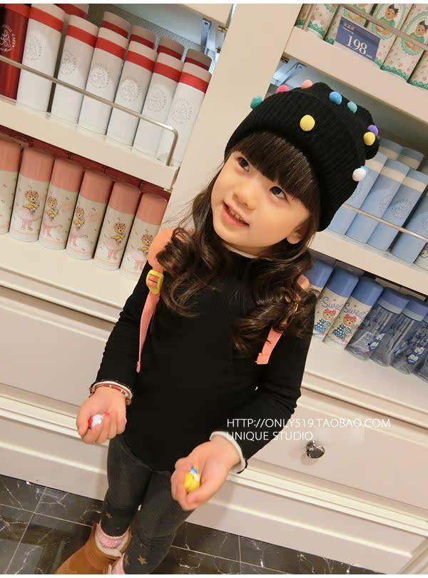 2017新韩版秋冬装女童中小童加绒毛衣针织衫高领打底衫螺纹高弹力