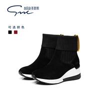 鞋子女冬2018新款内增高短靴女袜靴运动休闲高帮鞋女潮鞋加绒靴子
