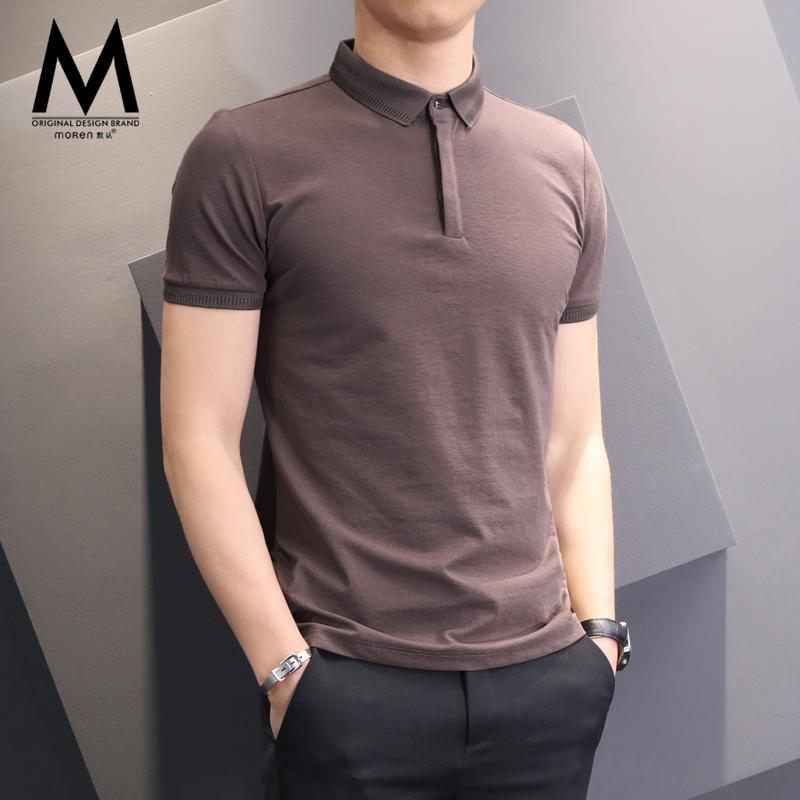 Polo衫男短袖夏季男士修身商务保罗上衣纯色潮流休闲翻领T恤男装