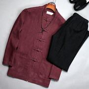 春秋季老人唐装男棉麻长袖套装4050岁爸爸装中老年亚麻爷爷外套