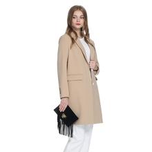 外套大衣1HY1302020 纯色宽松翻领中长款 ochirly欧时力新女装