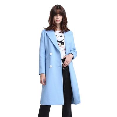 ochirly欧时力新女装西装领双排扣长款羊毛呢外套大衣1HY4341550