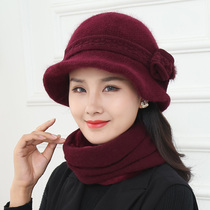 Winter middle-aged and elderly hat female rabbit hair knitted wool hat old man hat warm mom pot hat grandma scarf