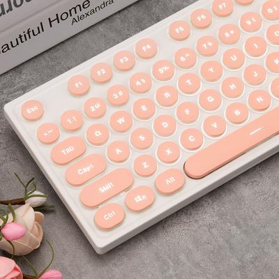 黑爵AK325机械手感键盘背光游戏电脑台式女生朋克复古办公笔记本可爱粉色真机械手感办公家用蒸汽朋克键盘