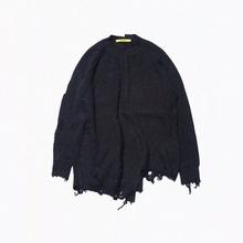 毛衣 oversize國潮中性男女秋冬拼接撞色不規則破洞寬松套頭針織衫