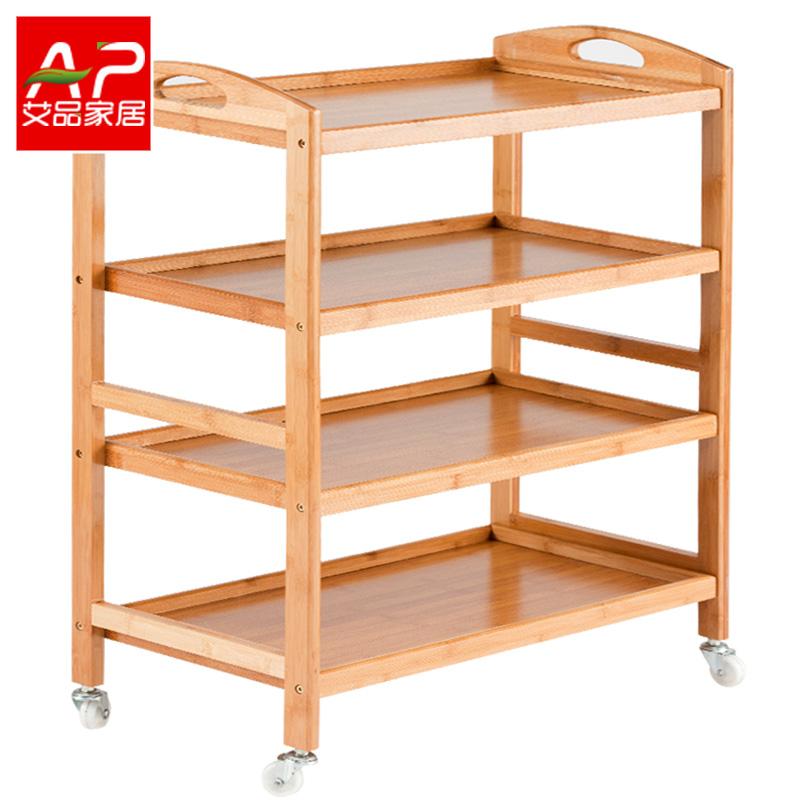 厨房置物架可移动带轮子推车餐车落地多层架储物架整理收纳架子竹